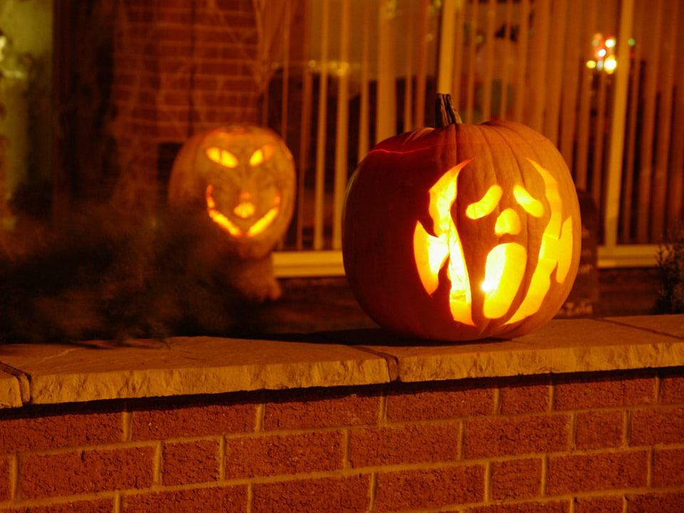 a Halloween party pumpkin on entrance
