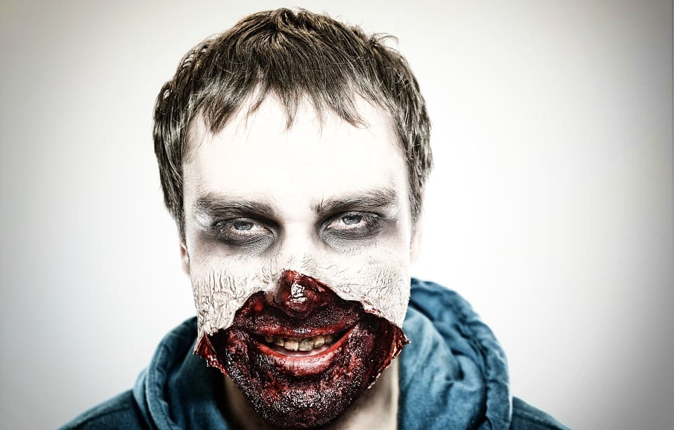 man with zombie make up