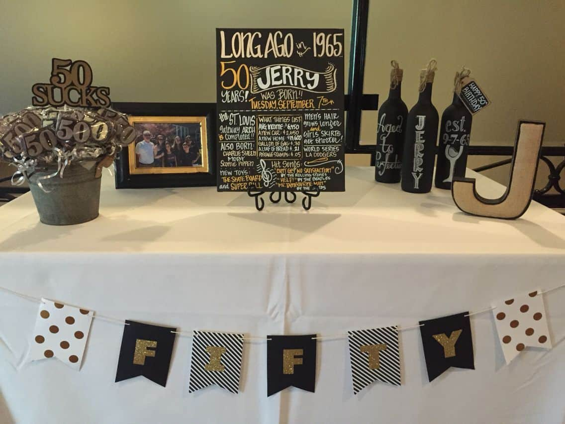 50th Birthday Party Themes Dont Have To Be Fancy This Rustic Display Is