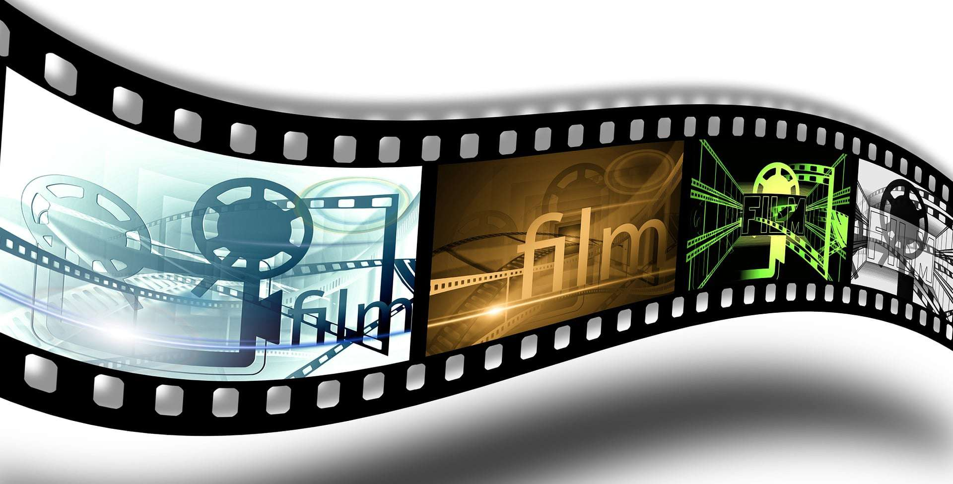 a film strip with various images
