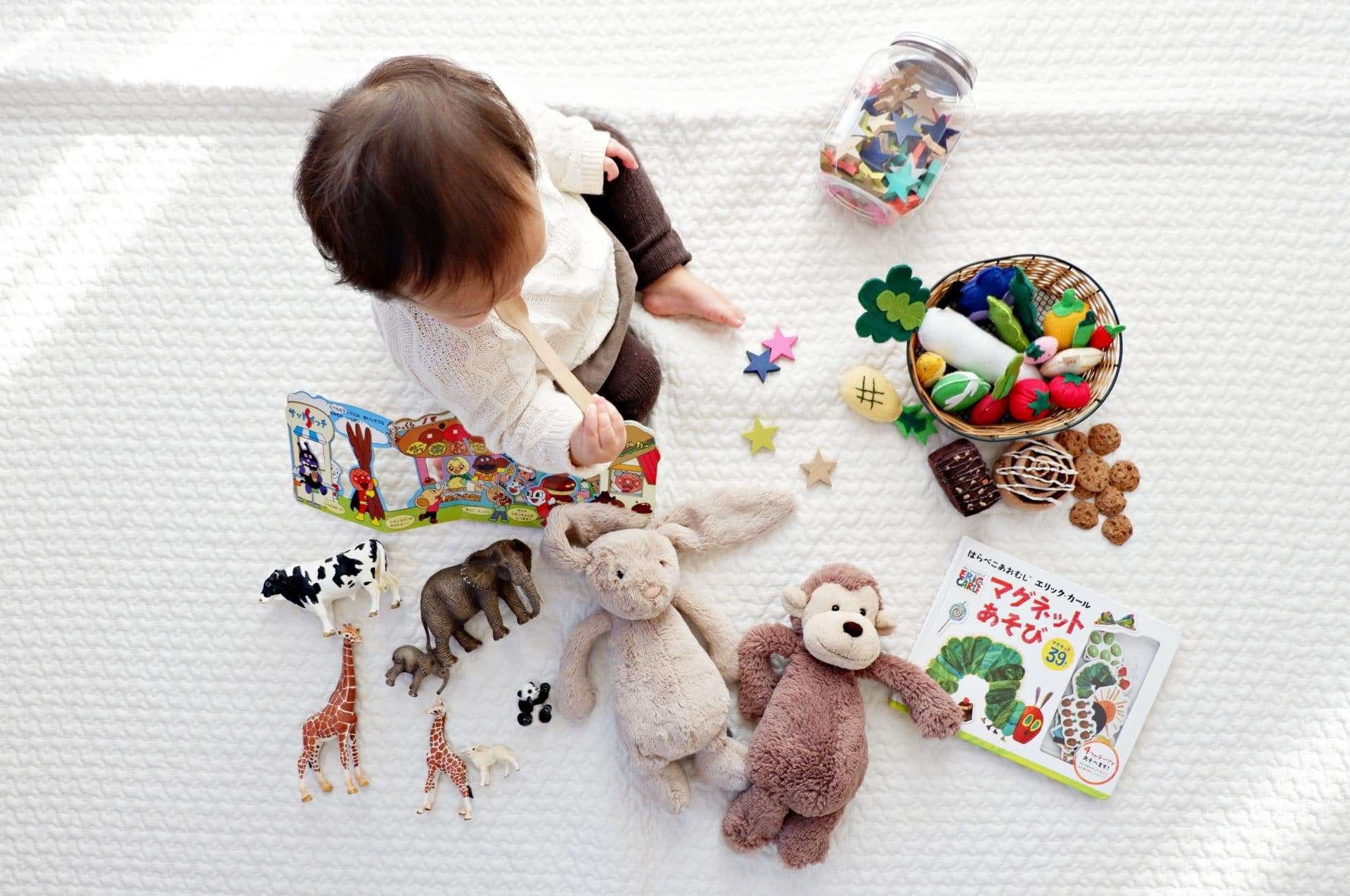 baby playing with toys