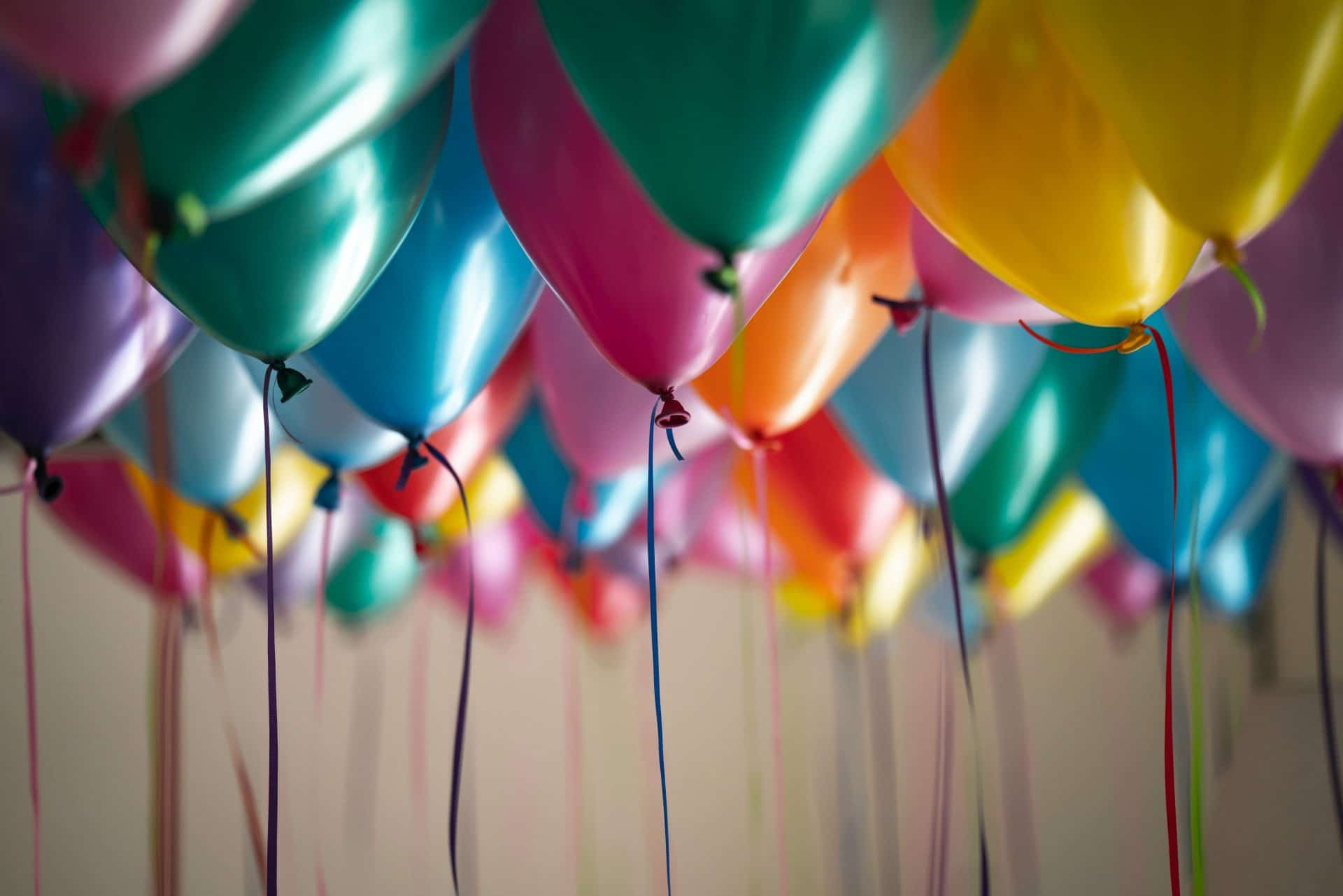 Floating balloons in different colors