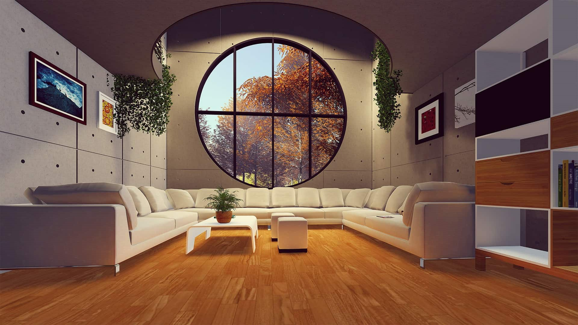 wide living room with indoor hanging plants