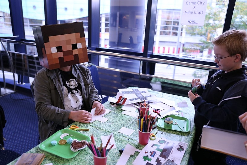 person with minecraft head